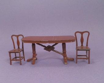 Tootsietoy, Dining Chairs, Table, 1930's Doll House Furniture, Miniature Metal, Vintage