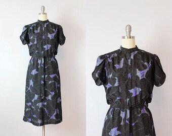 vintage 70s dress / 1970s dark floral dress / black and purple dress / floral chiffon dress / Night Shade dress
