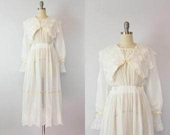 antique white cotton dress / 1910s lawn dress / Edwardian wedding dress / antique tambour lace tea dress / Cliff Walk dress