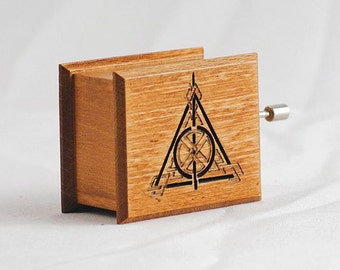 Harry Potter Deathly Hallows music box old walnut cappuccino - soundtrack and design inspired handmade wooden music box