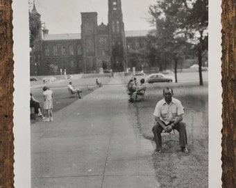 Original Vintage Photograph Sidewalk Sitting