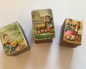 Antique Jewelry Ring Boxes, Cardboard and Victorian Lithograph, RARE Ring Boxes, 1900s, Jewelry Gift Boxes, Set of 3