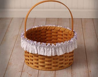 XL White and Lavender Basket Garter, Basket Accessories, Basket Decor, Home Decor