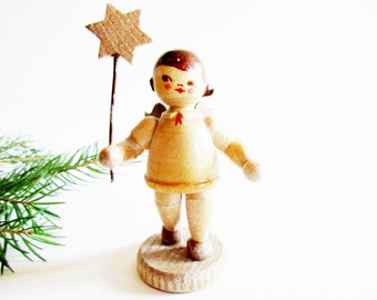 Lovely German Vintage Blank Wood Angel made in the GDR Erzgebirge Christmas Home Decor Collectable