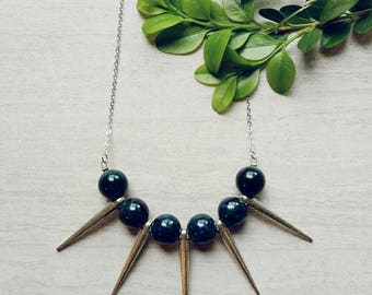 Dark Green Blue Agate and Spike Necklace Ready to Ship Jewelry