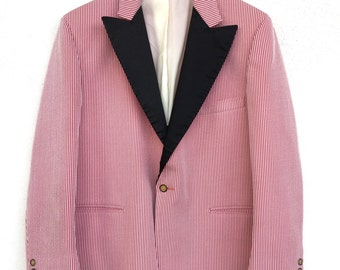 Amazing classic late 1960's Palm Beach Formal Wear red and white polyester seersucker tuxedo jacket