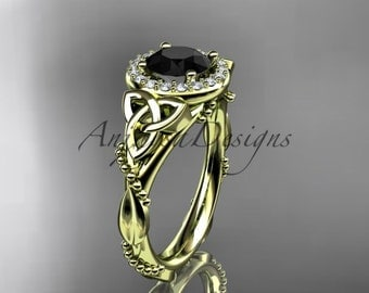 14kt yellow gold diamond celtic trinity knot wedding ring, engagement ring with a Black Diamond center stone CT7328