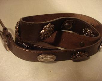 Vintage 1980s Boho Concho Dark Brown Distressed Leather Concho Belt Unisex
