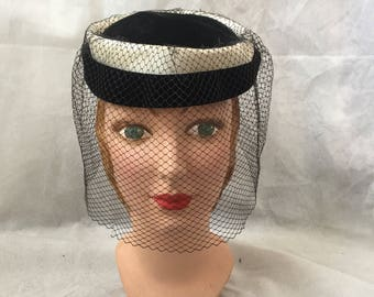 1950s pillbox hat with birdcage veil