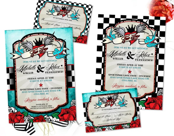 rockabilly wedding invitation set with sparrow lovebirds, Wedding invitations