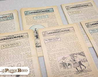 Little Learners Paper | Vintage Ephemera | 10 pc Paper Pack | Mixed Media Supply