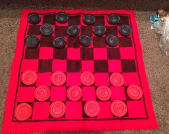 """Used Extra Large Checkerboard & Checkers Super Soft Fuzzy 27"""" Kids Family Fun Vintage Games"""