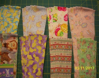 """40 - 2.5"""" by Width of Fabric Cotton Flannel Strips, Jelly Roll, Spring and Easter Prints"""
