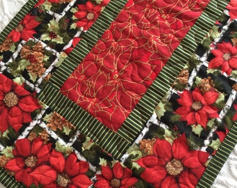 Christmas Table Runner Quilt, Poinsettia, Red, Green, Quiltsy Handmade