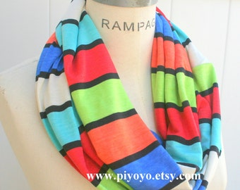 Top  best Selling Shops items, best friend birthday gift women, colorblock color block scarf, handmade hand made gifts,Infinity Scarf,PiYOYO