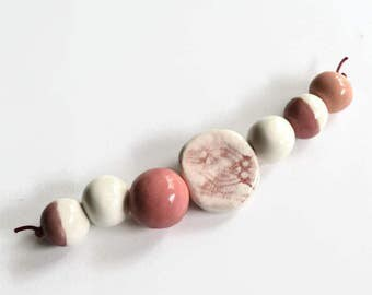 African beads, handmade African beads, pink, white, ceramic beads, pottery beads from Africa, clay beads, bead set, African, bead supplies