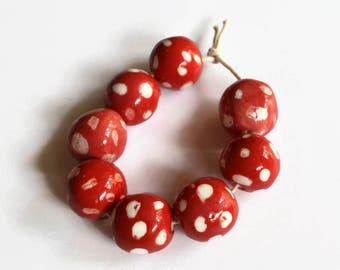 Red beads, red and white beads, red beads with white dots, Beads, ceramic beads, African beads, handmade African beads, ceramic beads