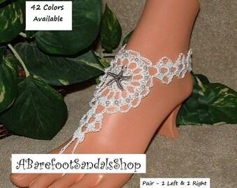 Beach Barefoot Sandals ANKLE SHOES Crochet Sandals Foot Jewelry Boho Bohemian Hippie Gypsy Women's Flat Low Heel Wedding Shoes Body Jewelry
