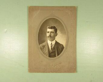 Man Cabinet Card - Vintage Dark Hair Mustache Photograph Iowa