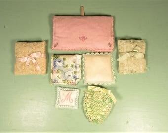 Pillow Scent Sachet Lot - Vintage Lace Crochet Monogram Ribbon