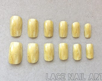 Tan & Gold Brushstrokes and Glitter - Handpainted Press On False Nails