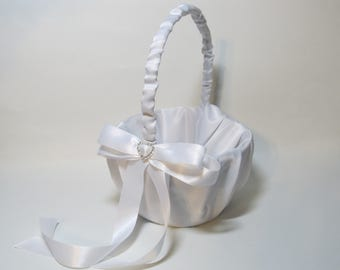 White Satin Flower Girl Basket with Rhinestone Heart for your Wedding Day