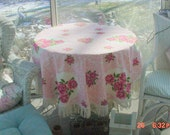 Vintage Rose Tablecloth Fringed French Country Cottage Chic Prairie Farmhouse