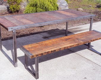 """Custom Qty Two 14""""x 18""""x 24"""" Industrial Side Tables with rectangular steel legs and raw steel trim"""