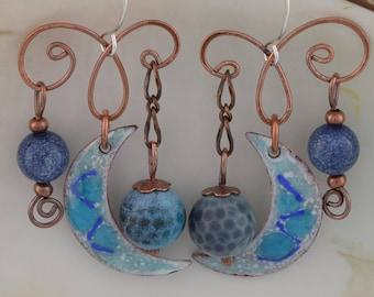 Blue Moon Wind Chime Earrings