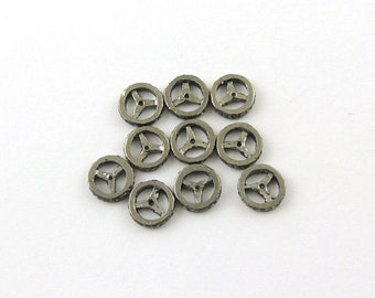 BIG SALE/Pave Diamond Oxidized Sterling Silver Wheel Beads/10mm