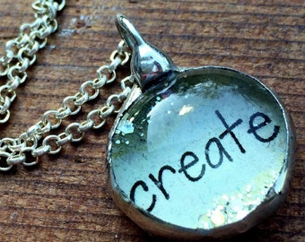 Create Necklace, Inspirational Jewelry, Soldered Glass Bubble Charm Necklace, Gift for Artist, Soldered Glass Necklace, Kyleemae Designs