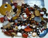 SALE - Destash - Semi-Precious Stone Lot - browns, cream - variety - beads SP903