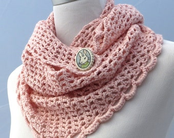 Hand crochet pink silk and wool shawl