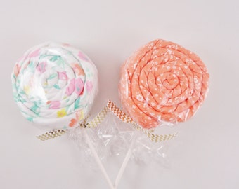 Twin Baby Girl Gift  - 2 Receiving Blanket Lollipops - coral baby girl gift