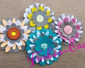 Lovely Set of Four Felt Flowers in a Hairclip