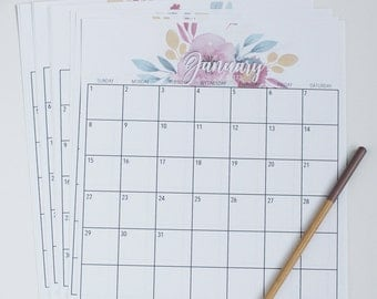 2017 Printable Calendar - watercolor florals - Instant Download