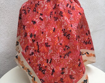 "Vintage small square scarf floral fall tones by Robinson Golluber 21""x21"""