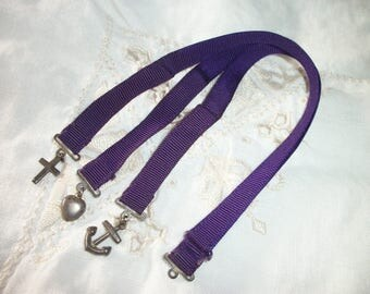 Sterling Silver FAITH HOPE & CHARITY Bible Book Mark Charms ~ Fob ~ Purple Ribbon ~ Vintage