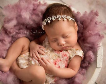Pearl Rhinestone Headband, Infant Headband, Baby Headband- Ivory pearl and Rhinestone Baby Headband Photography Prop