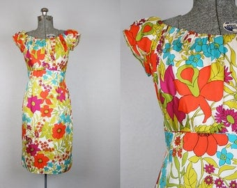 1960's Mr. Blackwell Silk Wiggle Dress with Floral Print / Size Medium