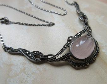 Deco Sterling German Necklace , German Marcasite Vintage Jewelry , Pink Quartz Deco Necklace , Wedding Necklace , Bridal , Estate Jewelry