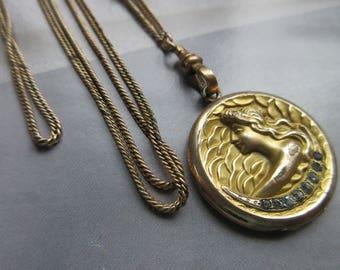 Antique Long Locket Necklace - Art Nouveau Locket on Gold Fill Watch Chain - Art Nouveau Lady Jewelry - Romantic Vintage - Wedding Necklace