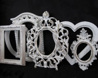 Six White Ornate Picture Frames~Vintage Shabby Chic Picture Frame Lot~Romantic Wedding Frames Gallery Wall Nursery Cottage Chic Victorian