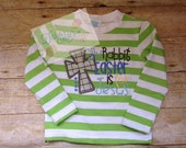 Long Sleeve, Green and White Stripe, Shirt, Christmas, Outfit, Pajamas, Boy, Girl, Easter, Birthday, TessieMaes, Rabbit, Monogram, Applique