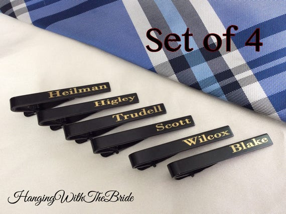 Set of 4 Skinny Tie Clip, Skinny Tie Bar, Tie Clips Men, Tie Clip Personalized, Tie Clip Silver, Tie Bar Personalized, Tie Bar Clip