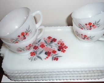 vintage Fire King milk glass Primrose snack set of 4