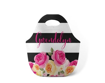 Personalized Lunch Tote - Roses- Custom Lunch tote for Children