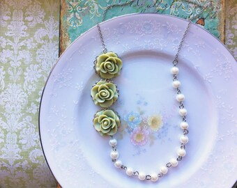 Vintage Inspired Sage Green Rose and Pearl Necklace, Asymmetrical Statement Necklace, Flower Necklace,Rose Necklace, Pearl Beads, Silver