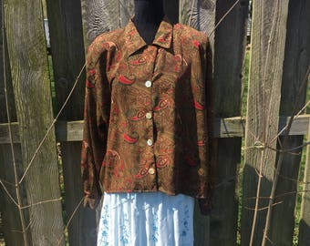 Vintage Business Attire Paisley Dress Shirt Vintage Polyester Blouse Size Extra Large