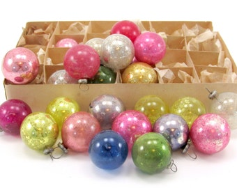 1950s Vintage Glass Feather Tree Christmas Holiday Ornaments Two Dozen Boxed Japan